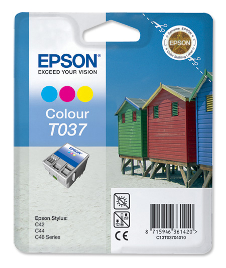 Genuine Tri-Colour Epson T037 Ink Cartridge - (C13T03704010 Beach Huts Inkjet Printer Cartridge)
