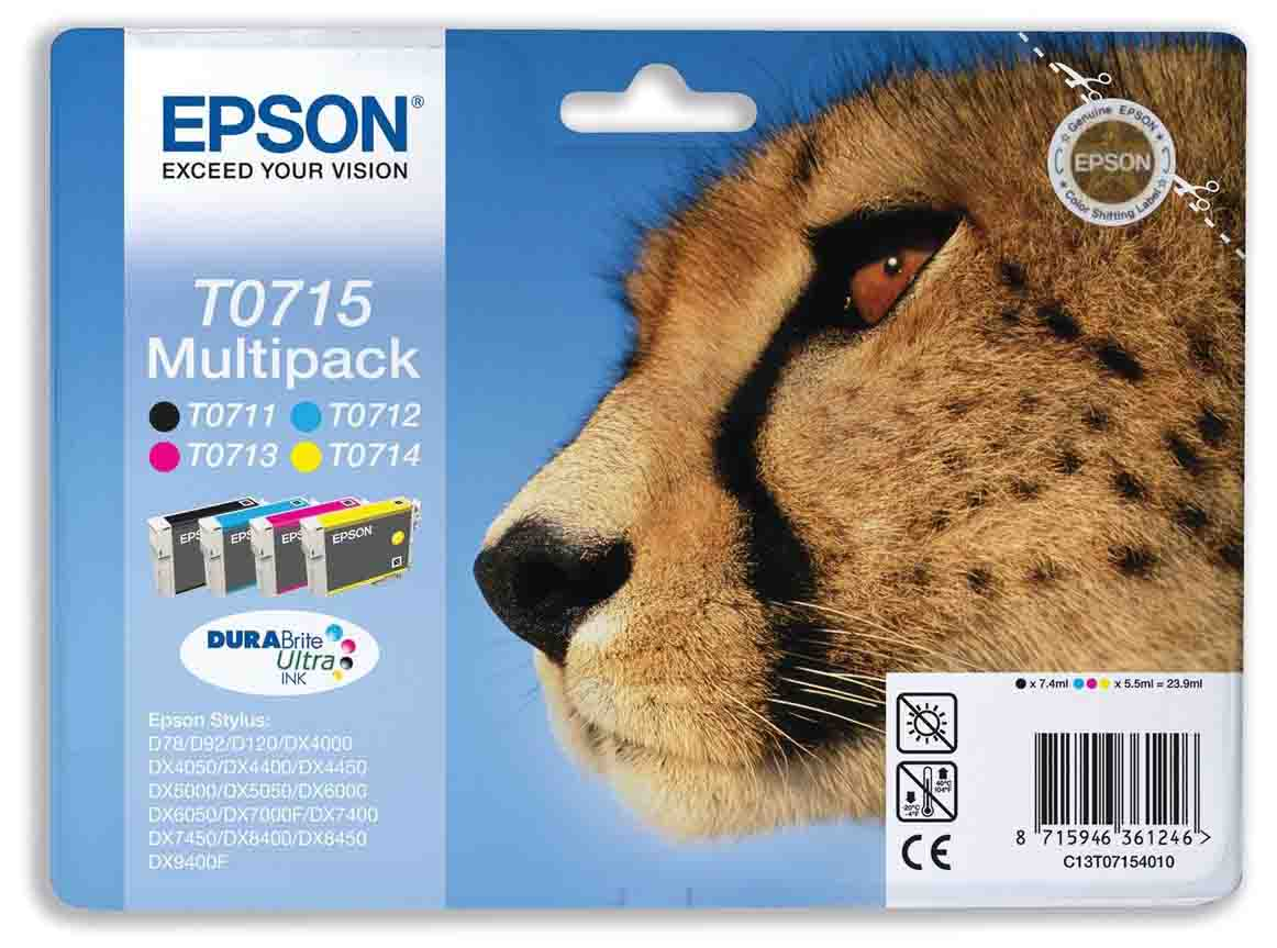 Genuine 4-Colour Epson T0715 Ink Cartridges Multipack - (T0715 Cheetah Inkjet Printer Cartridges)