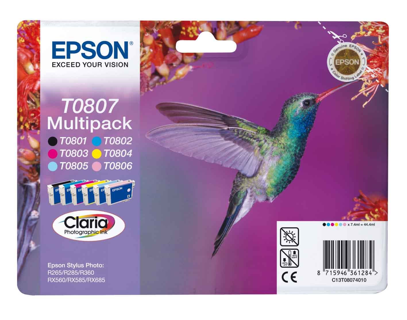 Genuine 6-Colour Multipack Epson T0807 Ink Cartridge - (C13T080740 Hummingbird Claria Photographic Ink Cartridges)