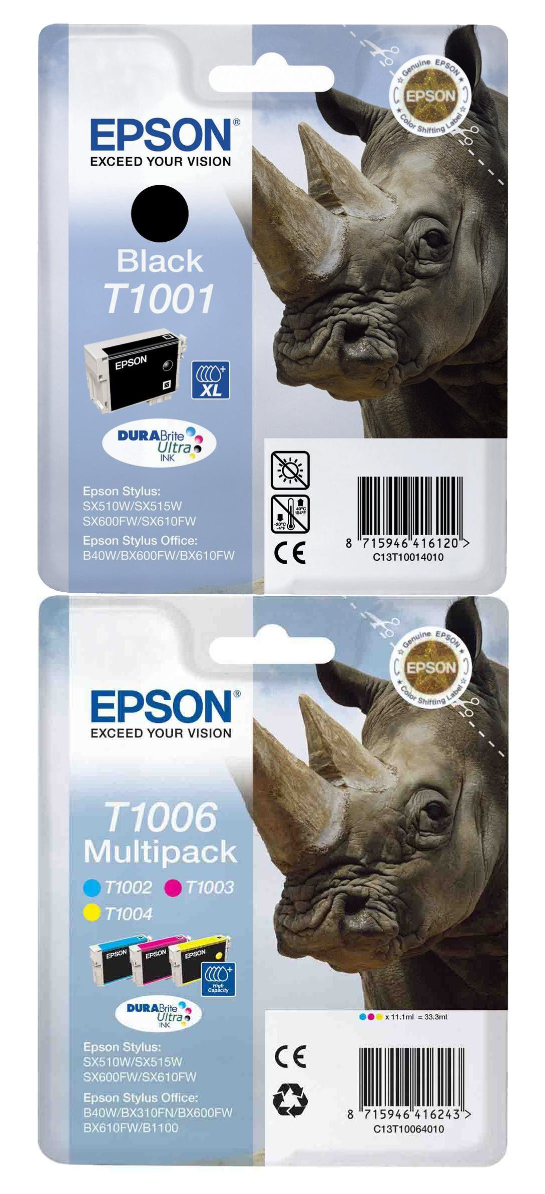 Genuine 4 Colour Epson T100 Ink Cartridge Multipack - (T1001/T1002/T1003/T1004 Rhino Inkjet Printer Cartridges)