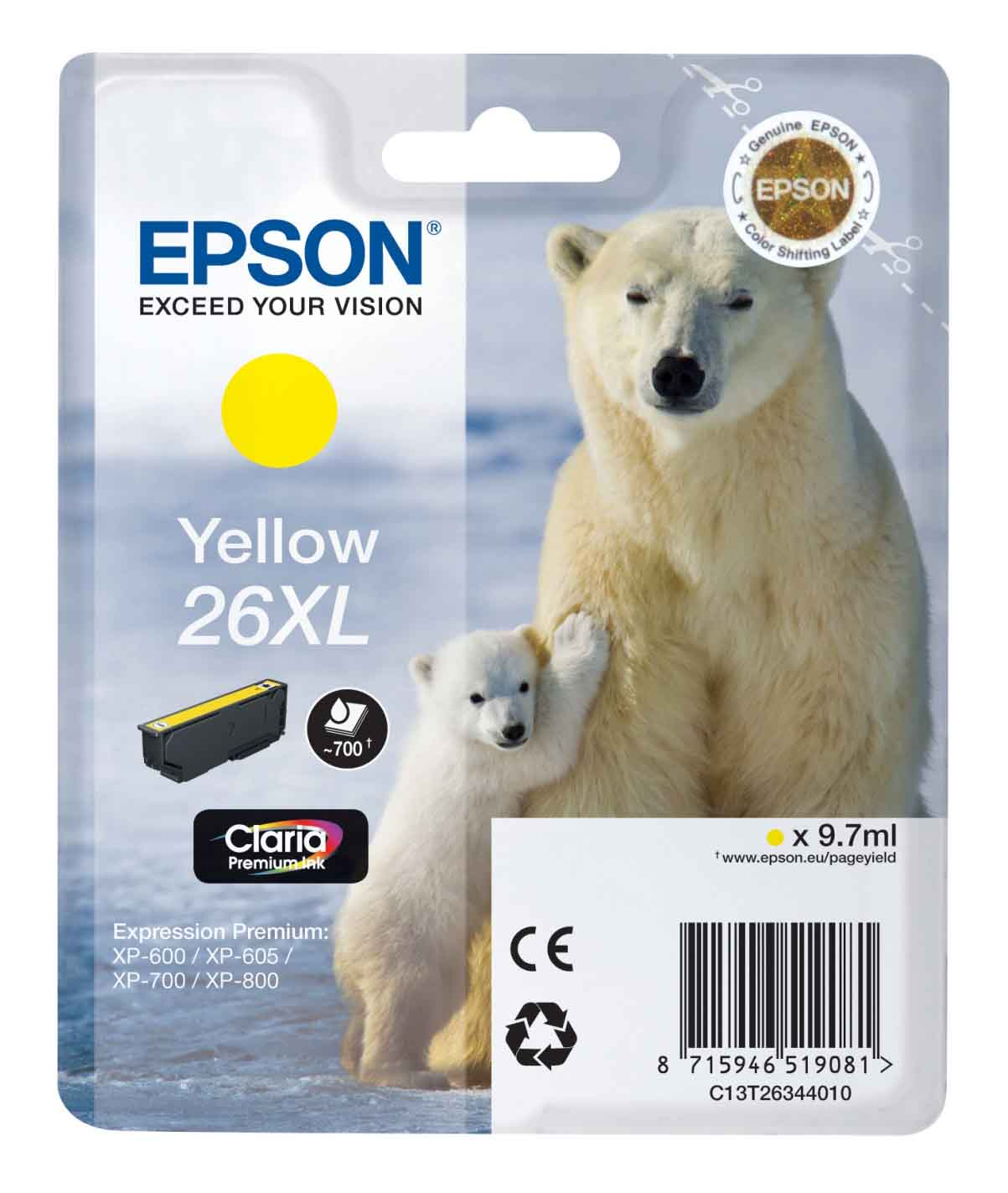 Genuine Yellow Epson 26XL High Capacity Ink Cartridge - (T2634 Polar Bear Inkjet Printer Cartridge)