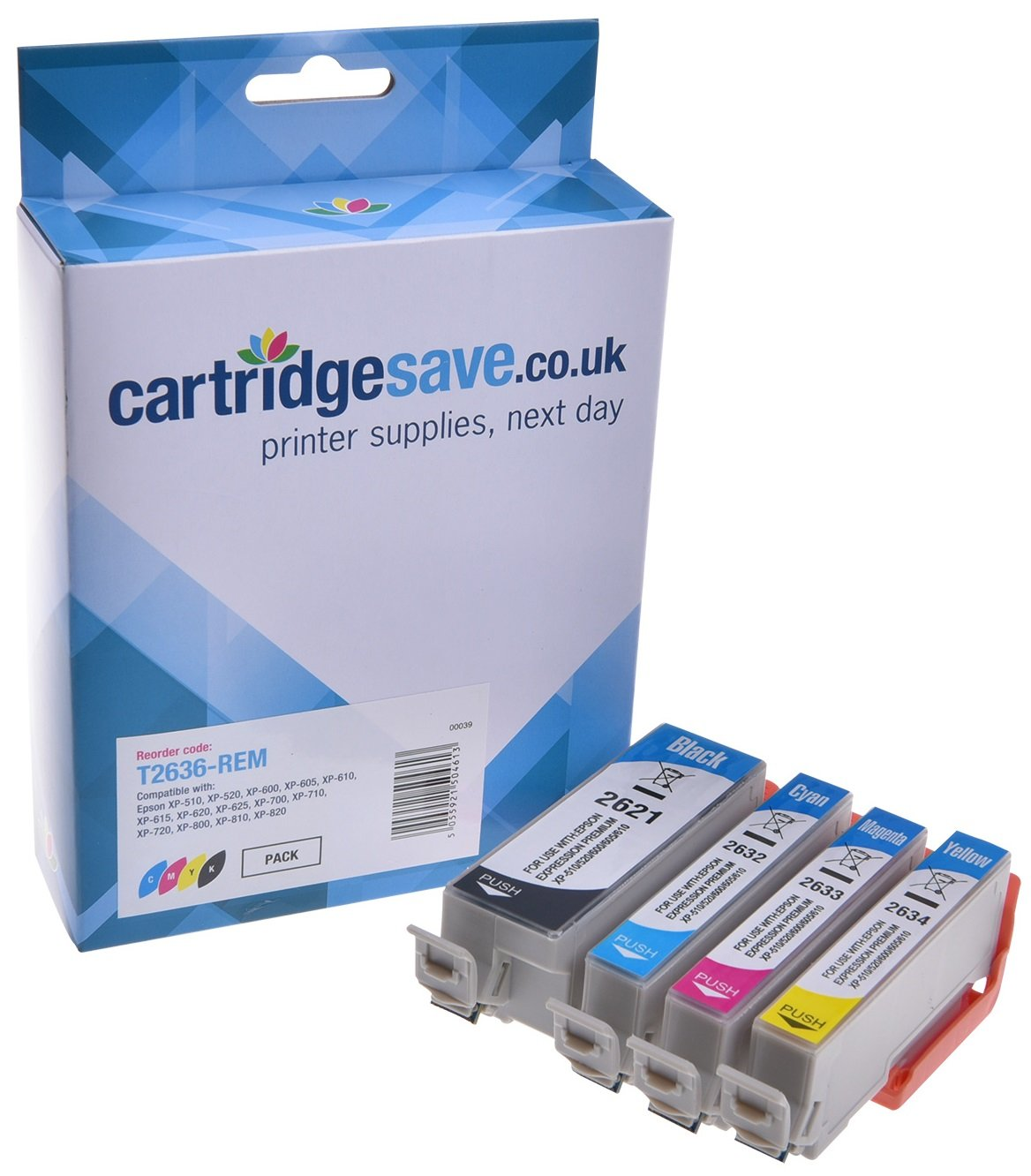 Compatible 4 Colour Epson 26XL High Capacity Ink Cartridge Multipack - (Replaces Epson T2636 Polar Bear Inkjet Printer Cartridges)