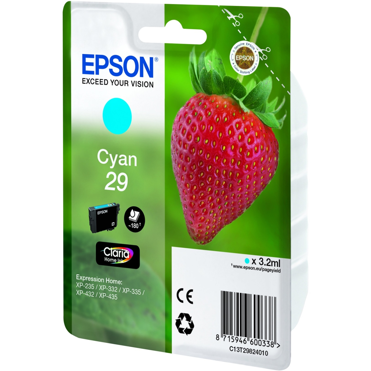 Genuine Cyan Epson 29 Ink Cartridge - (T2982 Strawberry Inkjet Printer Cartridge)