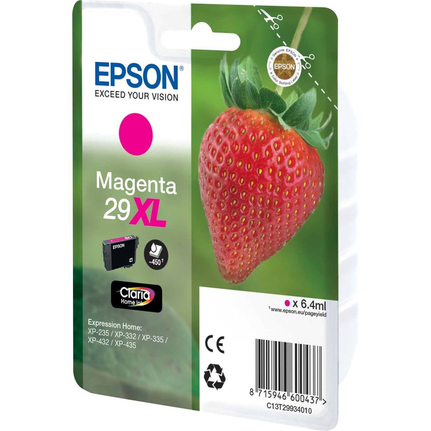 Genuine Magenta Epson 29XL High Capacity Ink Cartridge - (T2993 Strawberry Inkjet Printer Cartridge)