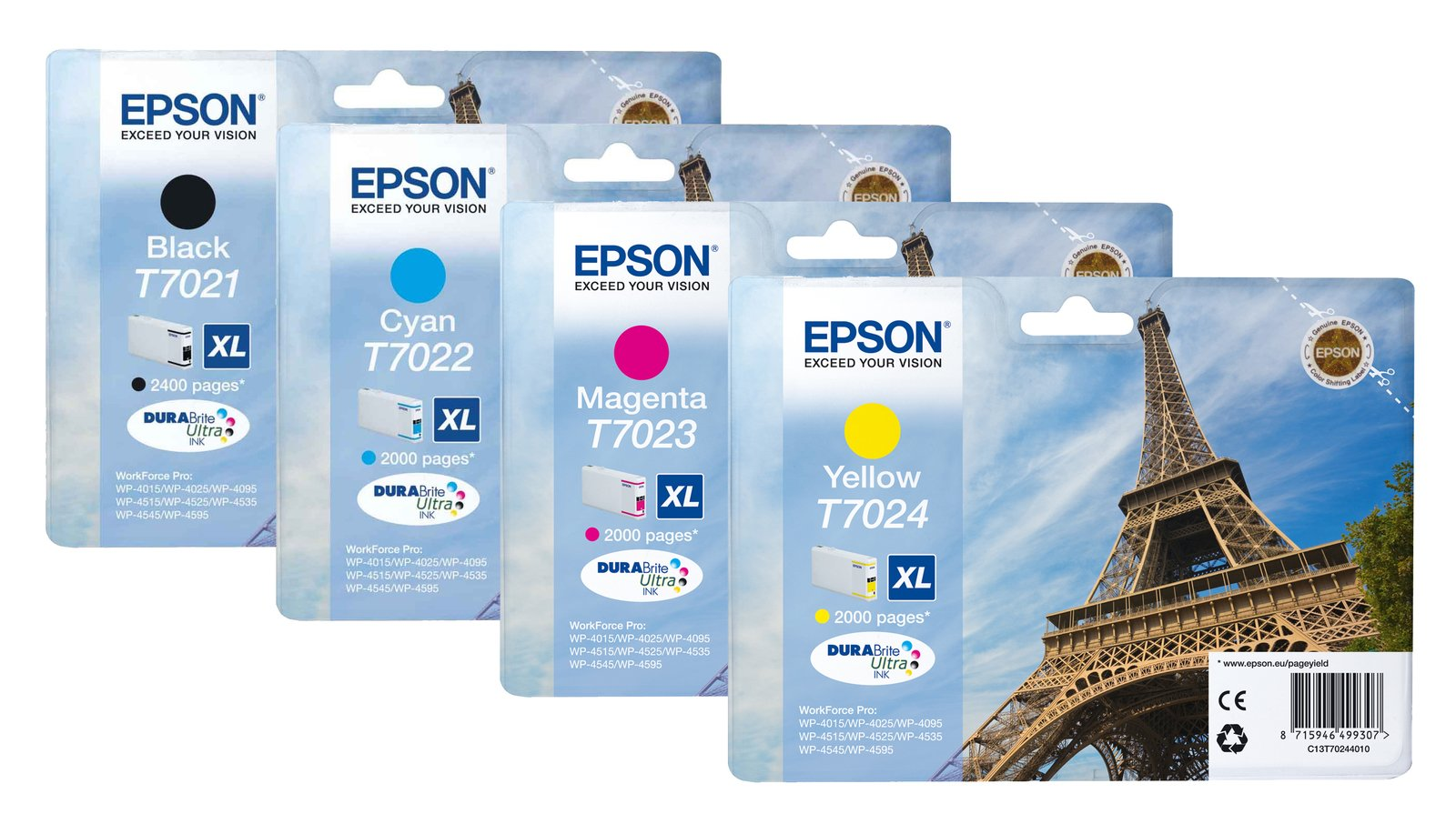 Genuine High Capacity 4 Colour Epson T702 XL Ink Cartridge Multipack - (T7021/T7022/T7023/T7024 Eiffel Tower Printer Cartridges)