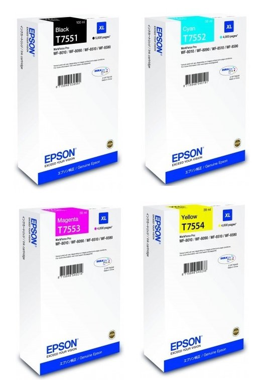 Genuine High Capacity 4 Colour Epson T755 Ink Cartridge Multipack - (T7551/T7552/T7553/T7554)