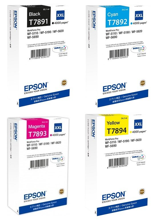 Genuine Extra High Capacity 4 Colour Epson T789 Ink Cartridge Multipack - (T7891/T7892/T7893/7894)
