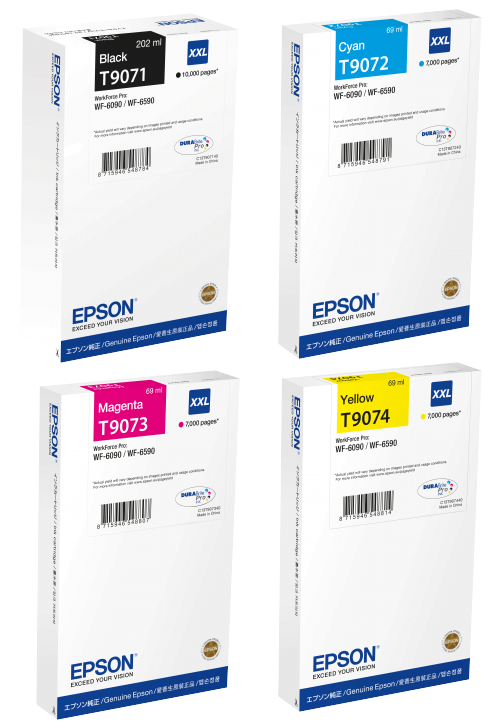 Genuine Extra High Capacity 4 Colour Epson T907 Ink Cartridge Multipack - (T9071/T9072/T9073/T9074)