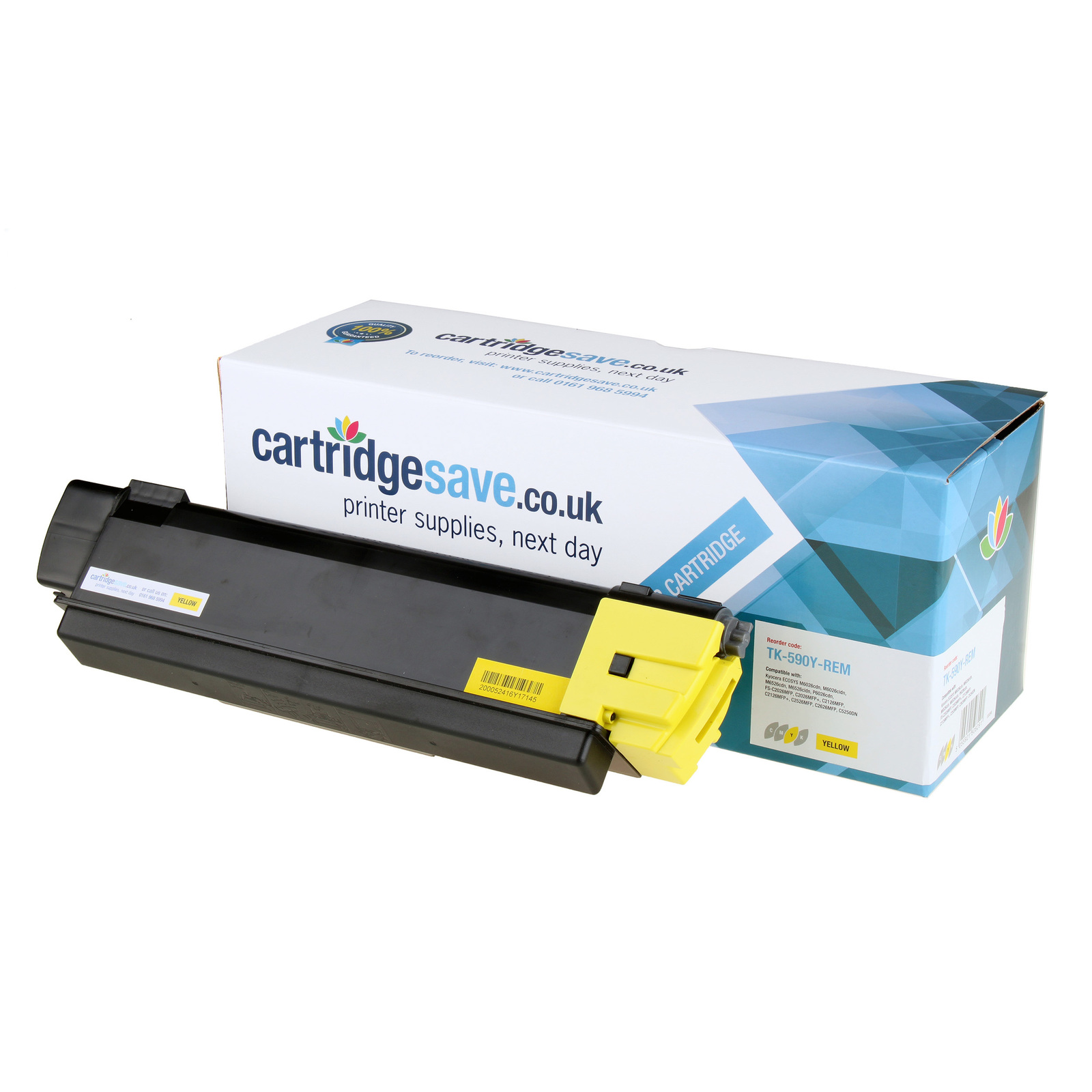 Compatible Yellow Kyocera TK-590Y Toner Cartridge (Replaces Kyocera TK590Y Laser Printer Cartridge)