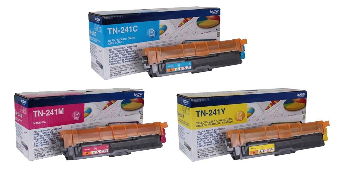Genuine 3 Colour Brother TN-241 Toner Cartridge Multipack (TN-241C/M/Y)