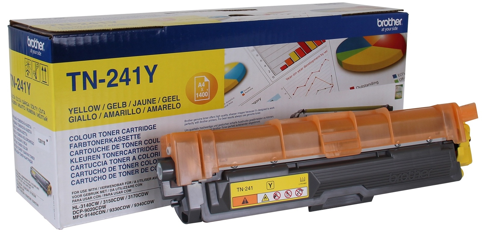 Genuine Yellow Brother TN-241Y Toner Cartridge (TN241Y Laser Printer Cartridge)