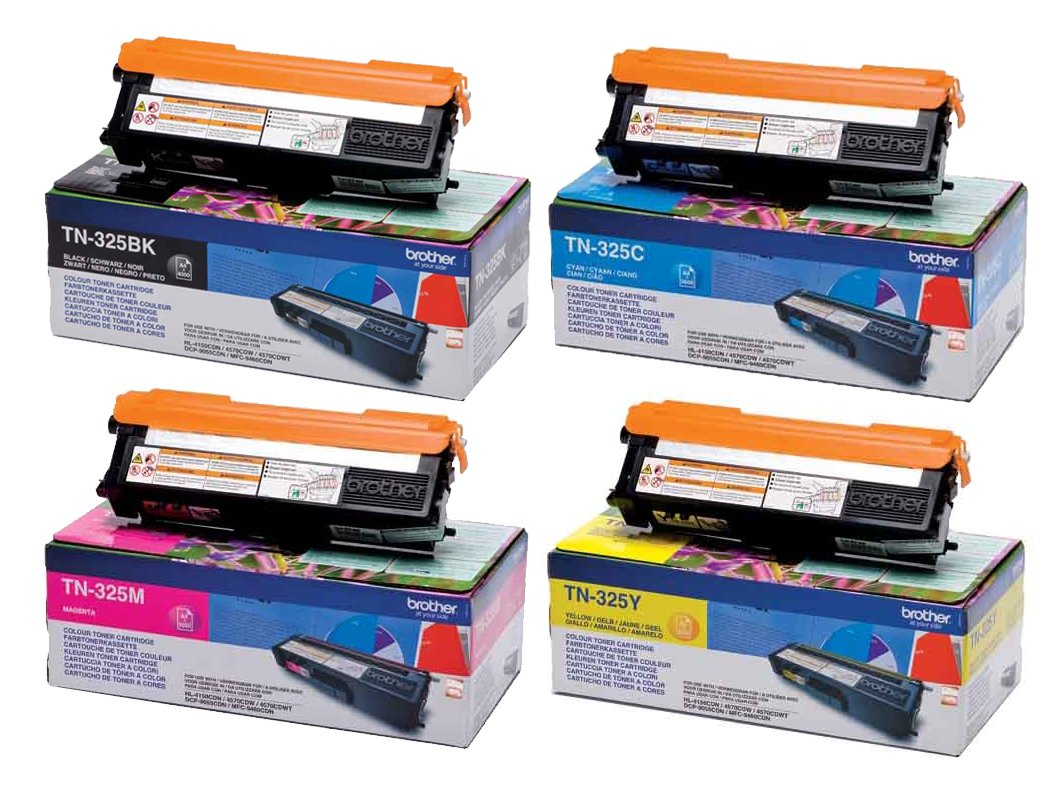 Genuine High Capacity 4 Colour Brother TN-325 Toner Cartridge Multipack (TN-325BK/C/M/Y)