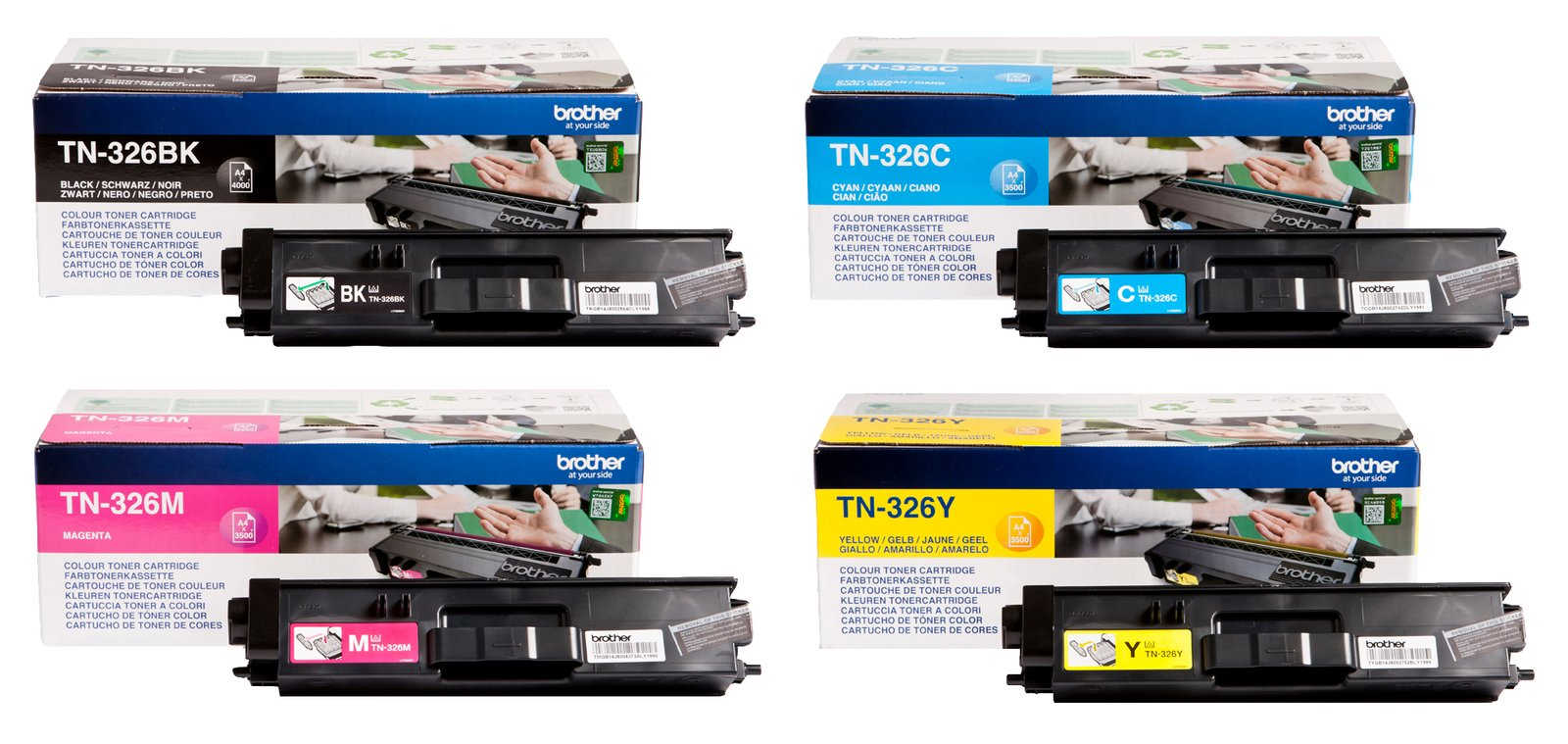 Genuine High Capacity 4 Colour Brother TN-326 Toner Cartridge Multipack (TN-326BK/C/M/Y)