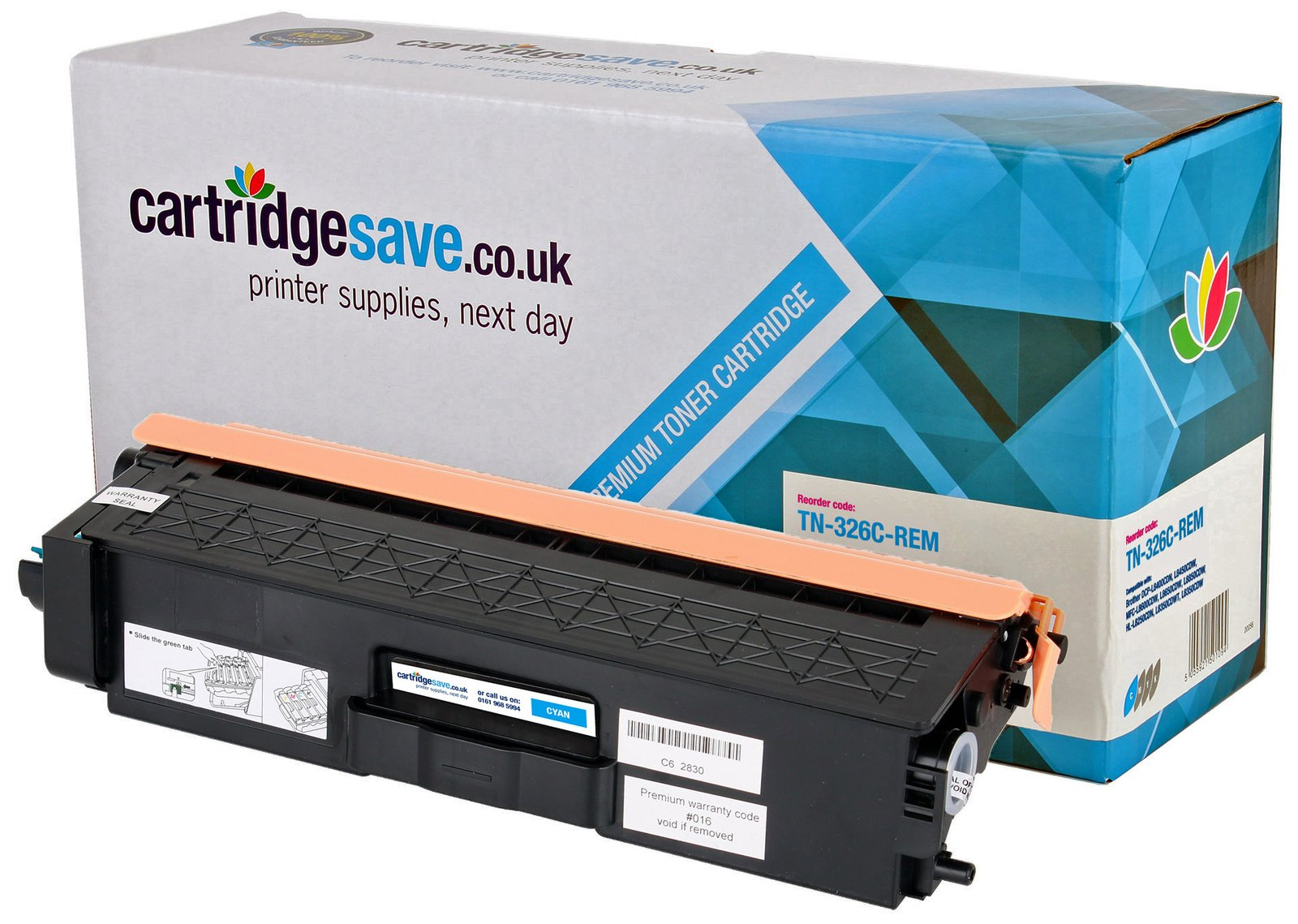 Compatible High Capacity Cyan Brother TN-326C Toner Cartridge (TN326C Laser Printer Cartridge)