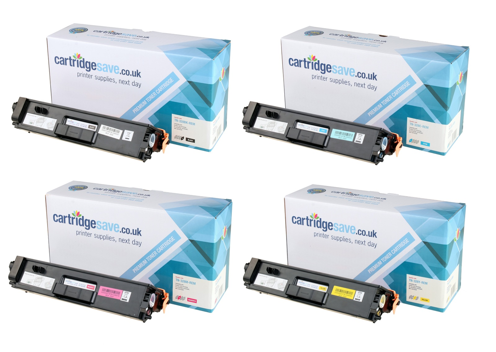 Compatible Extra High Capacity 4 Colour Brother TN-328 Laser Toner Multipack - (Replaces Brother TN328BK/C/M/Y)