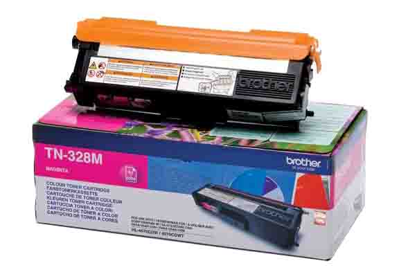 Genuine Extra High Capacity Magenta Brother TN-328M Toner Cartridge (TN328M Laser Printer Cartridge)