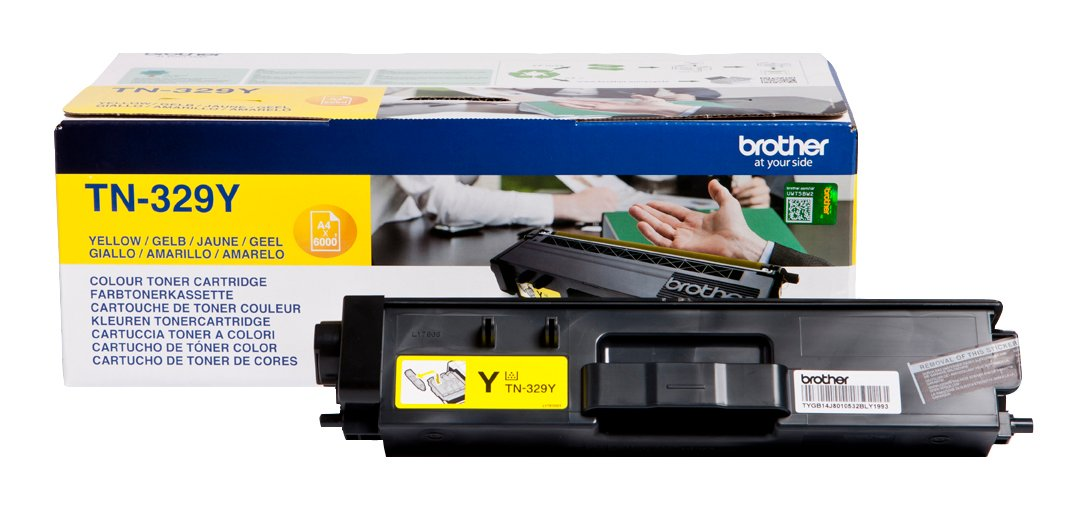 Genuine Extra High Capacity Yellow Brother TN-329Y Toner Cartridge (TN329Y Laser Printer Cartridge)