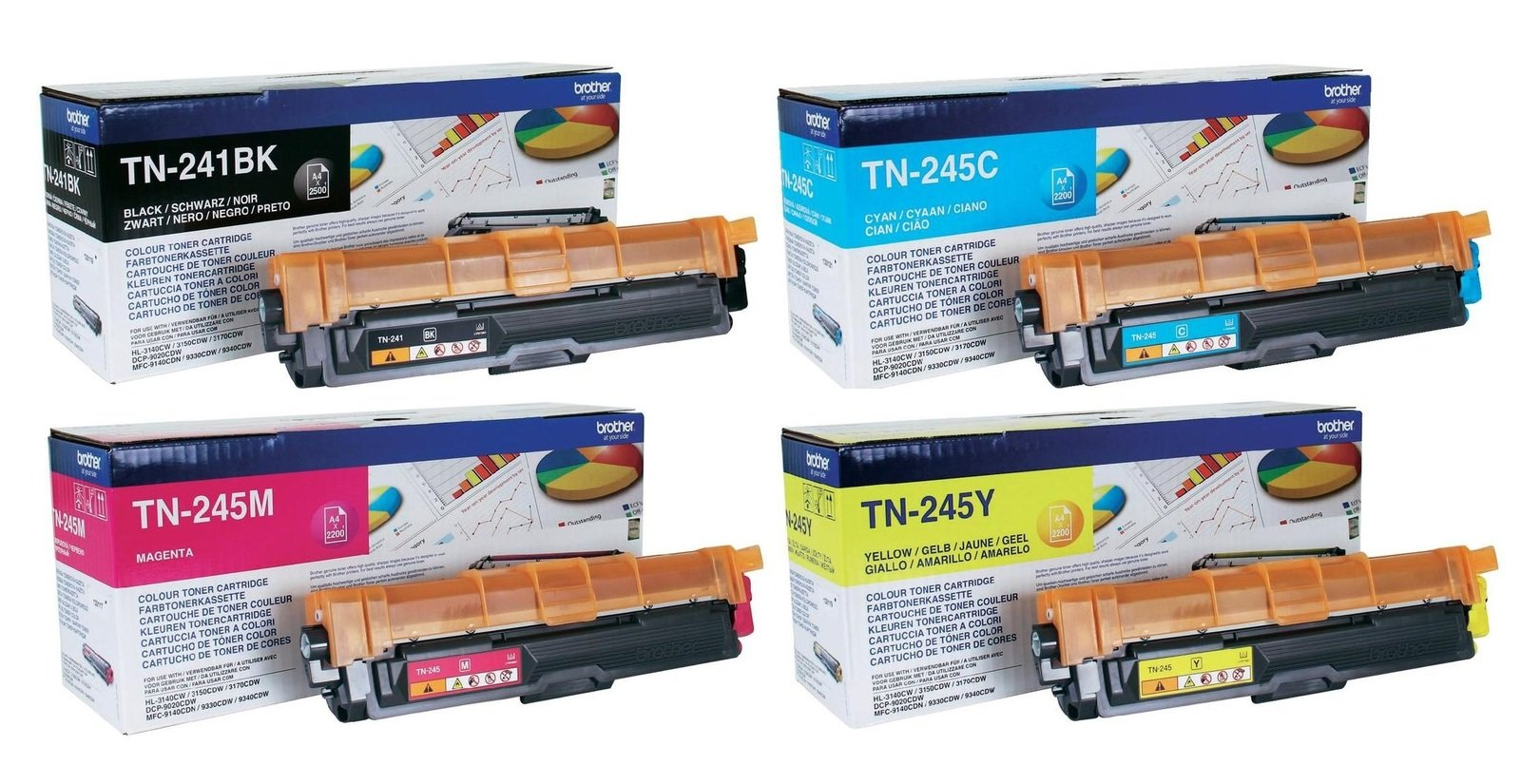 Genuine 4 Colour Brother TN-241 & TN-245 Toner Cartridge Multipack (TN-241BK/TN-245C/TN-245M/TN-245Y)