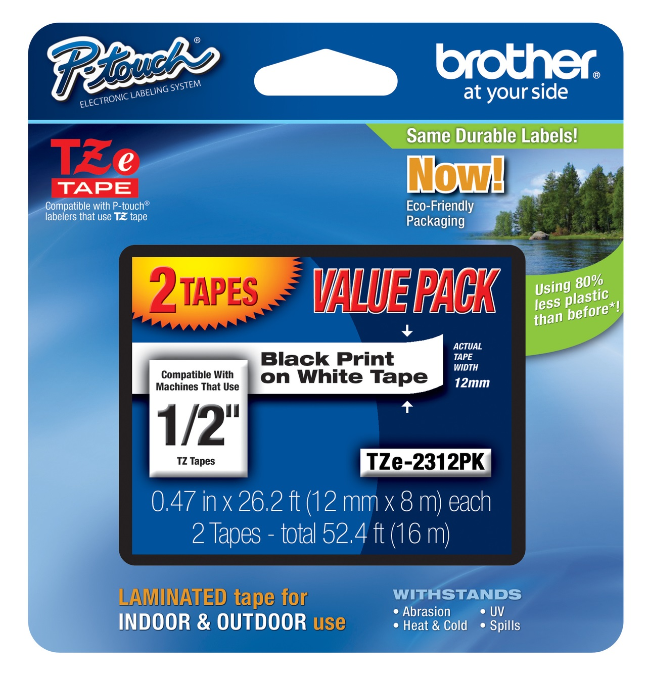 Genuine Brother TZe-231 Black On White Laminated P-Touch Labelling Tape Twin Pack 12mm x 8m (TZE-231 Tape)