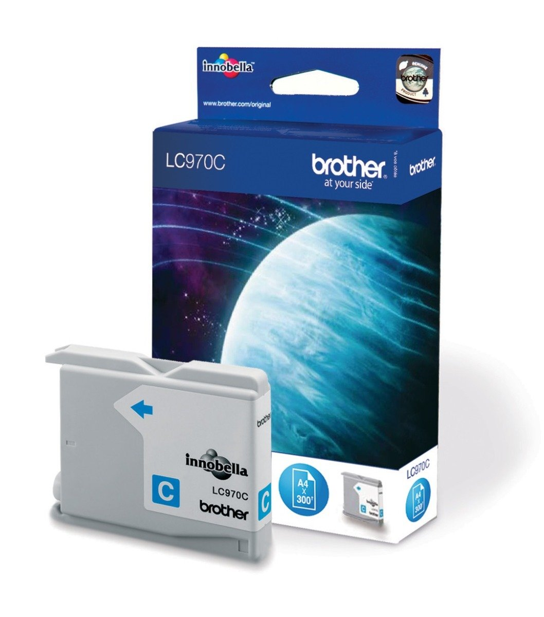 Genuine Brother LC970C Cyan Ink Cartridge (LC-970C Inkjet Printer Cartridge)