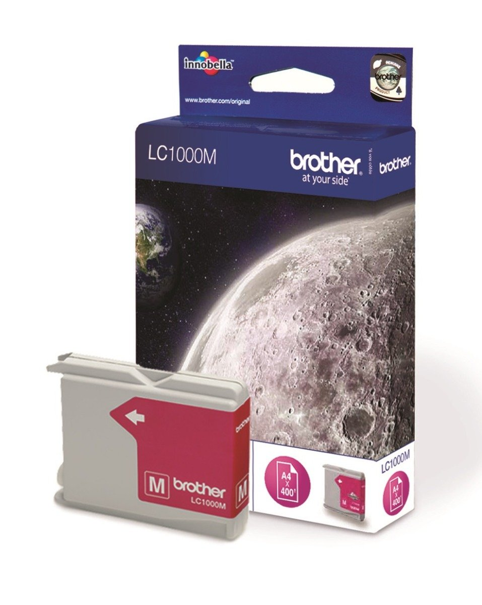 Genuine Brother LC1000M Magenta Ink Cartridge (LC-1000M Inkjet Printer Cartridge)