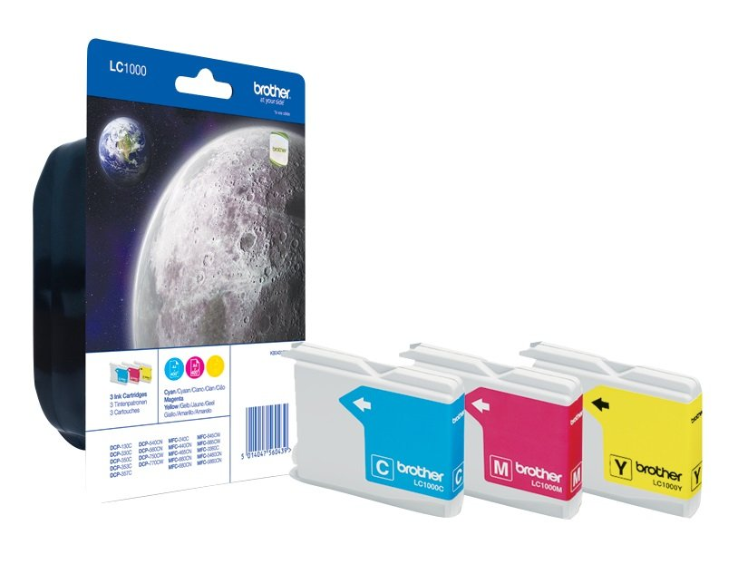 Genuine 3 Colour Brother LC1000 Ink Cartridge Multipack (LC-1000C/M/Y)