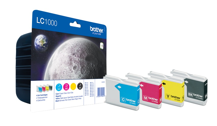 Genuine 4 Colour Brother LC1000 Ink Cartridge Multipack (LC-1000BK/C/M/Y)