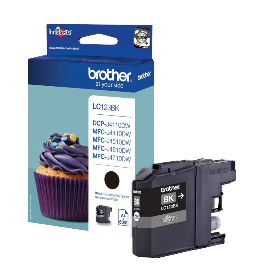 Genuine Brother LC123BK Black Ink Cartridge (LC-123BK Inkjet Printer Cartridge)