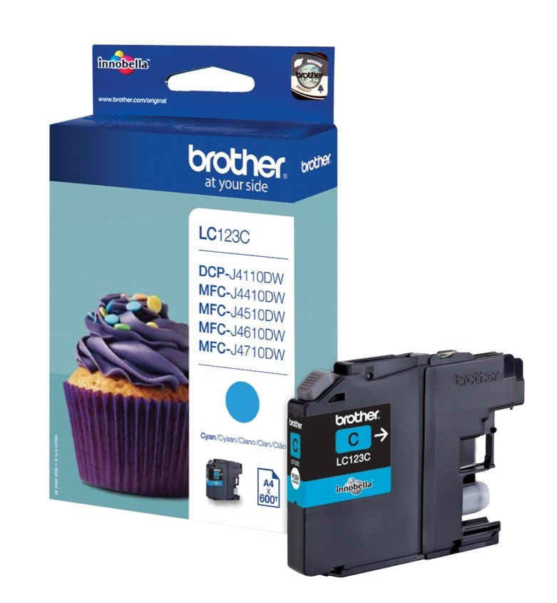 Genuine Brother LC123C Cyan Ink Cartridge (LC-123C Inkjet Printer Cartridge)
