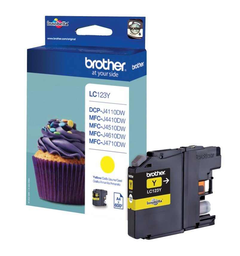 Genuine Brother LC123Y Yellow Ink Cartridge (LC-123Y Inkjet Printer Cartridge)