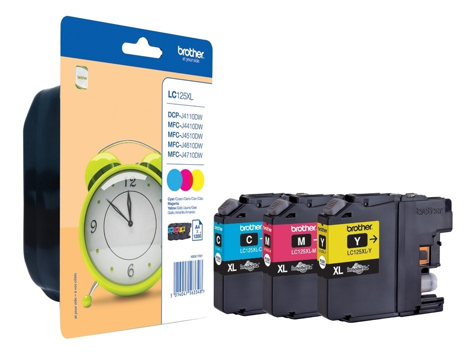 Genuine Brother LC125XL High Capacity 3 Colour Ink Cartridge Multipack (LC-125XLRBWBP)
