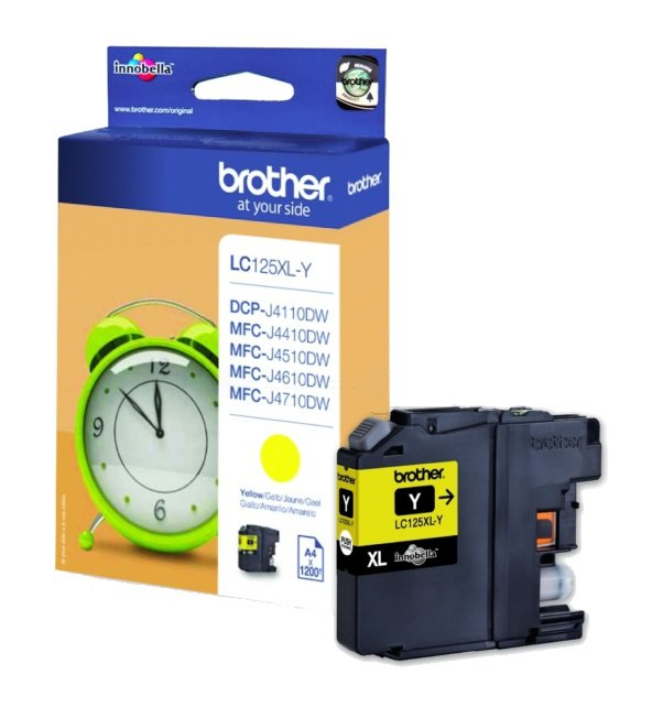Genuine Brother LC125XL High Capacity Yellow Ink Cartridge (LC-125XLY Inkjet Printer Cartridge)