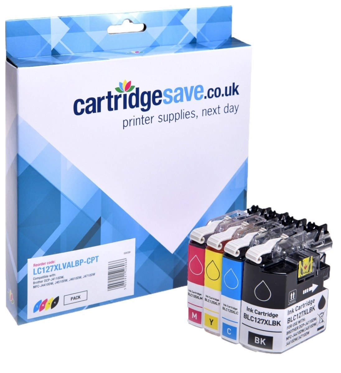 Compatible Brother LC127XL / LC125XL High Capacity 4 Colour Ink Cartridge Multipack (LC127XLBK/ LC125XLC/ LC125XLM/ LC125XLY)
