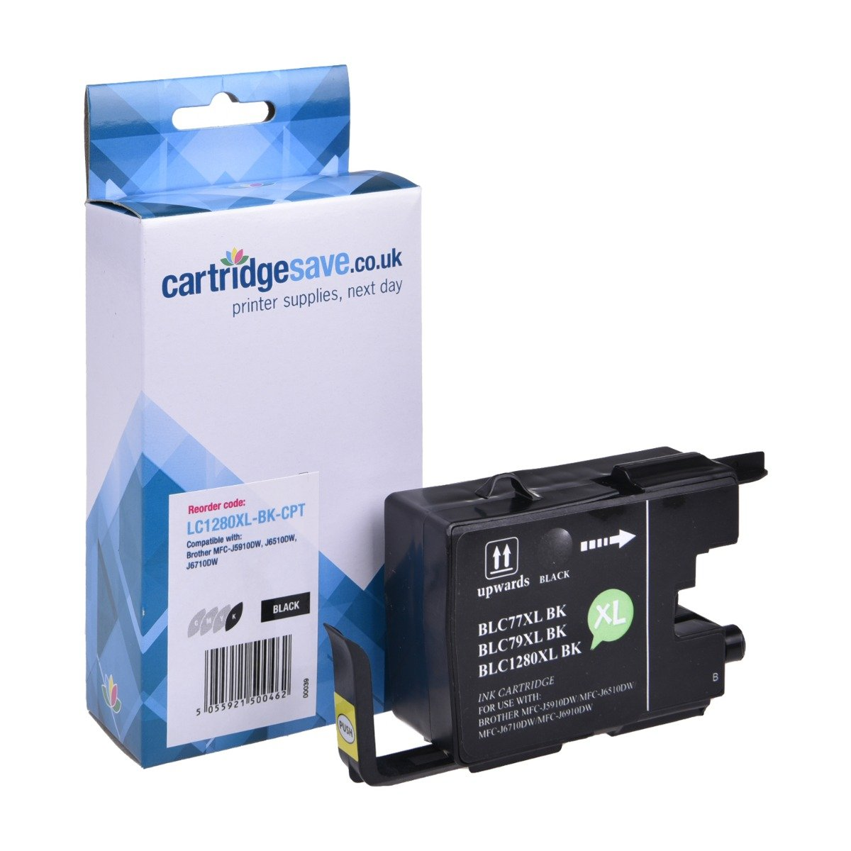 Compatible High Capacity Black Brother LC1280XL-BK Ink Cartridge (Replaces LC-1280XLBK Inkjet Printer Cartridge)