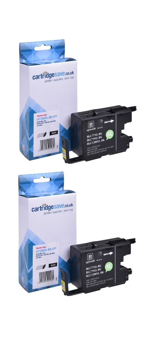 Compatible High Capacity Black Brother LC1280XLBK Ink Cartridge Twin Pack (LC1280XLBKBP2)