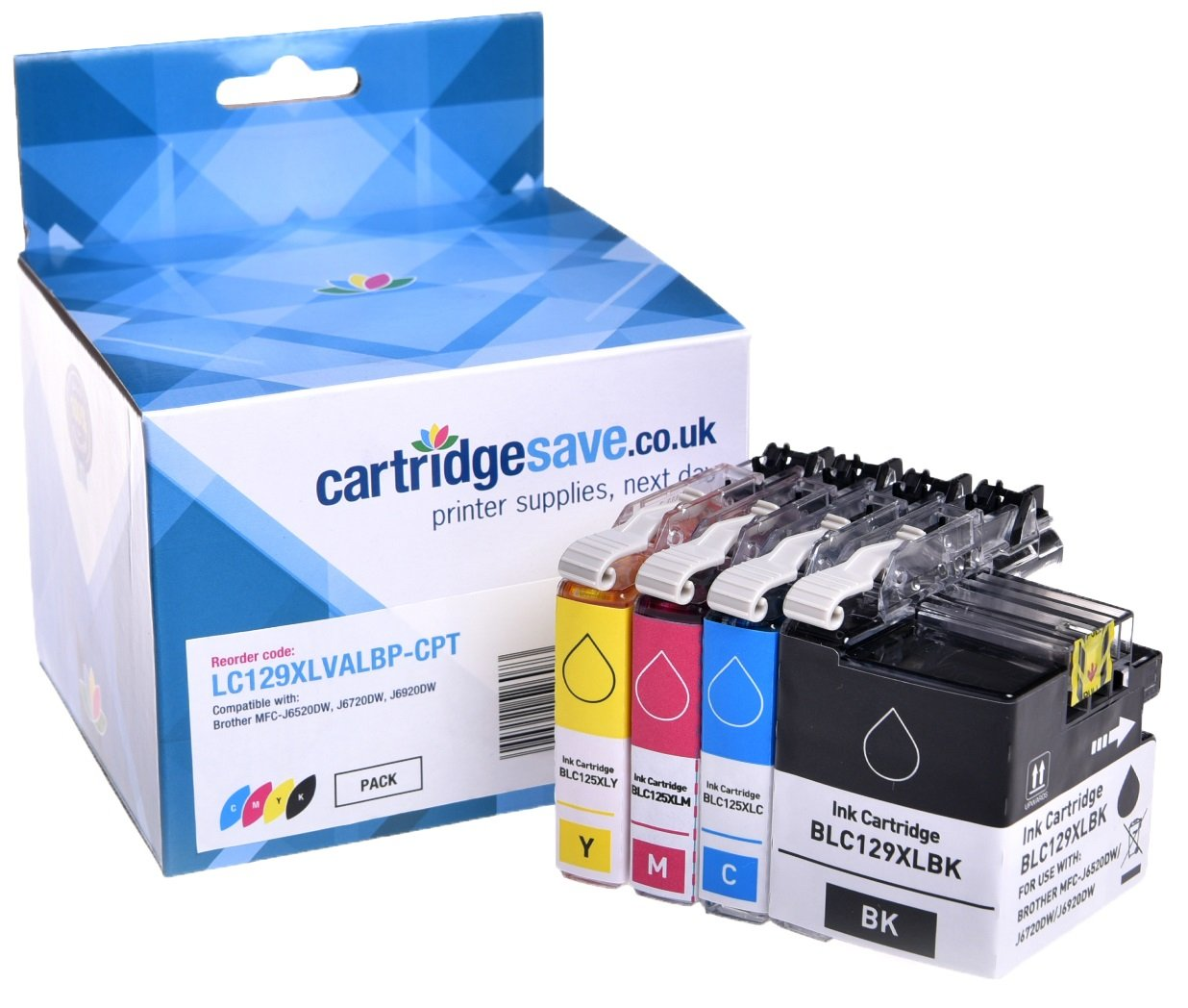 Compatible High Capacity Brother LC129XL / LC125XL 4 Colour Ink Multipack (LC129XLBK/ LC125XLC/ LC125XLM/ LC125XLY)