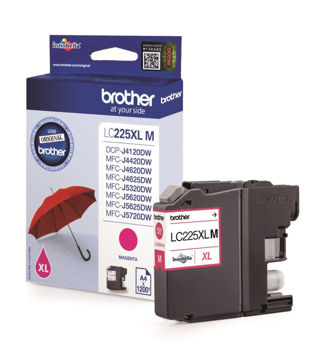 Genuine Brother LC225XL High Capacity Magenta Ink Cartridge (LC225XLM Inkjet Printer Cartridge)