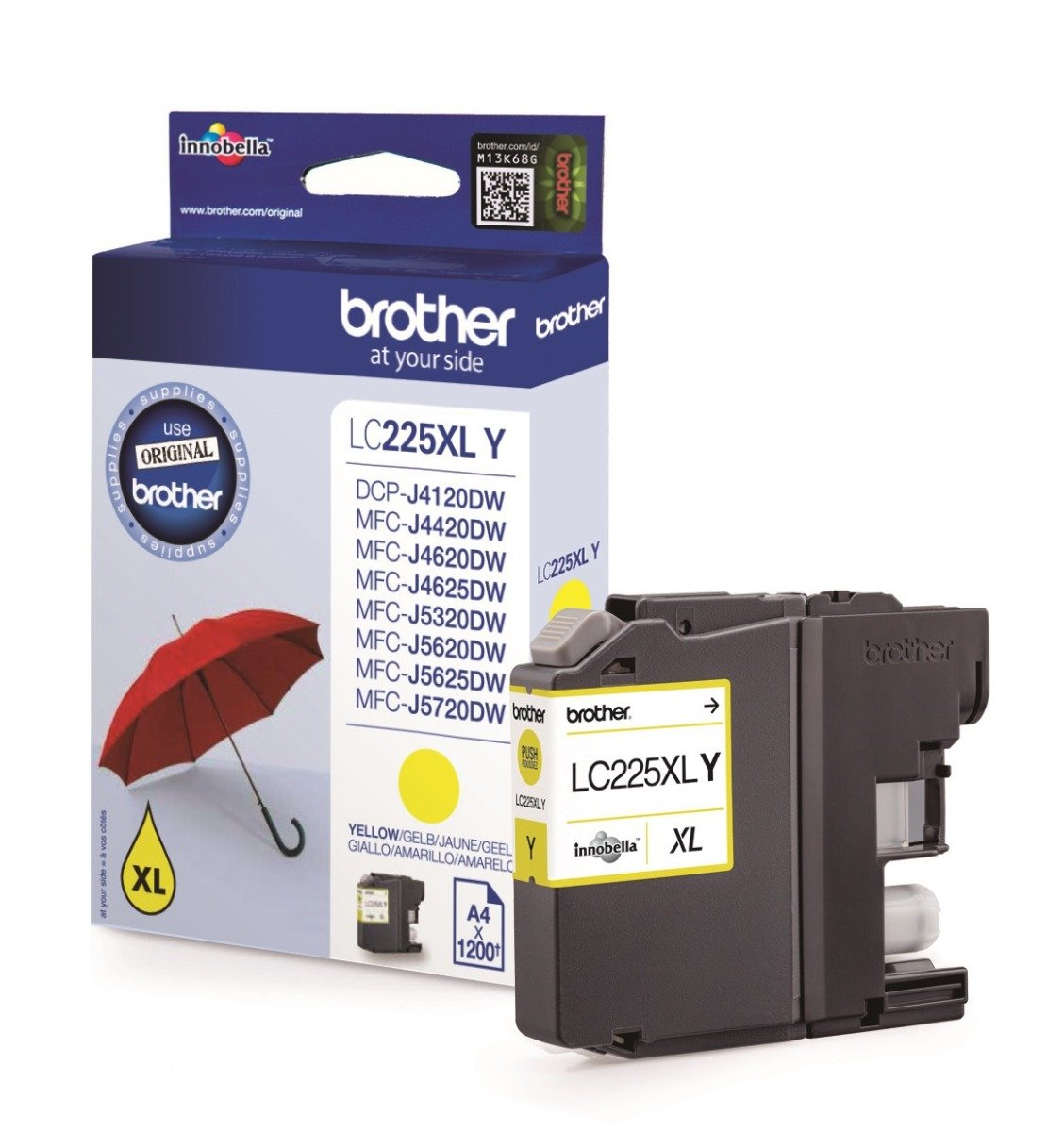 Genuine Brother LC225XL High Capacity Yellow Ink Cartridge (LC225XLY Inkjet Printer Cartridge)