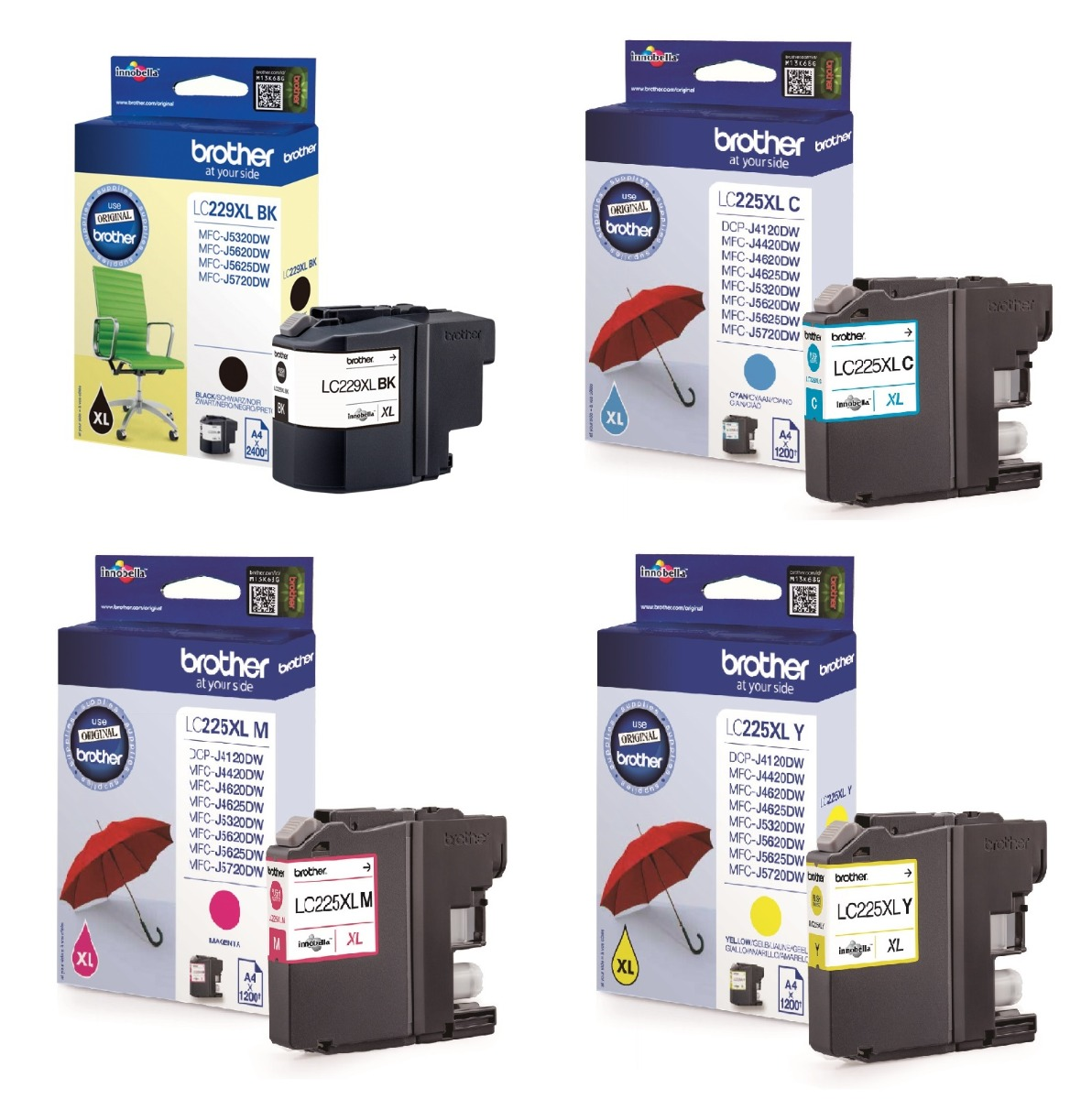Genuine High Capacity 4 Colour Brother LC229XL / LC225XL Ink Multipack (LC229XLVALBP Ink Cartridges)