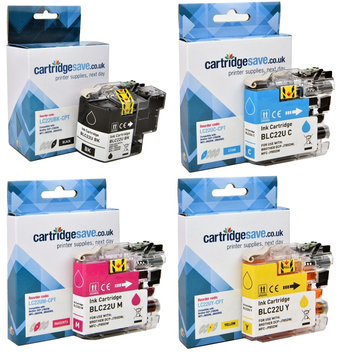 Compatible 4 Colour Brother LC22U Ink Cartridge Multipack (LC-22UBK/C/M/Y)