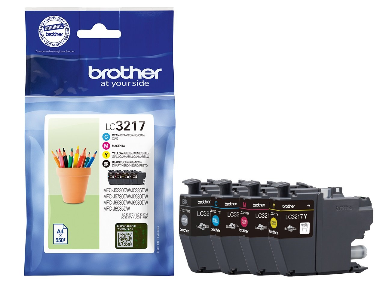 Genuine 4 Colour Brother LC3217 Ink Cartridge Multipack (LC-3217BK/C/M/Y)