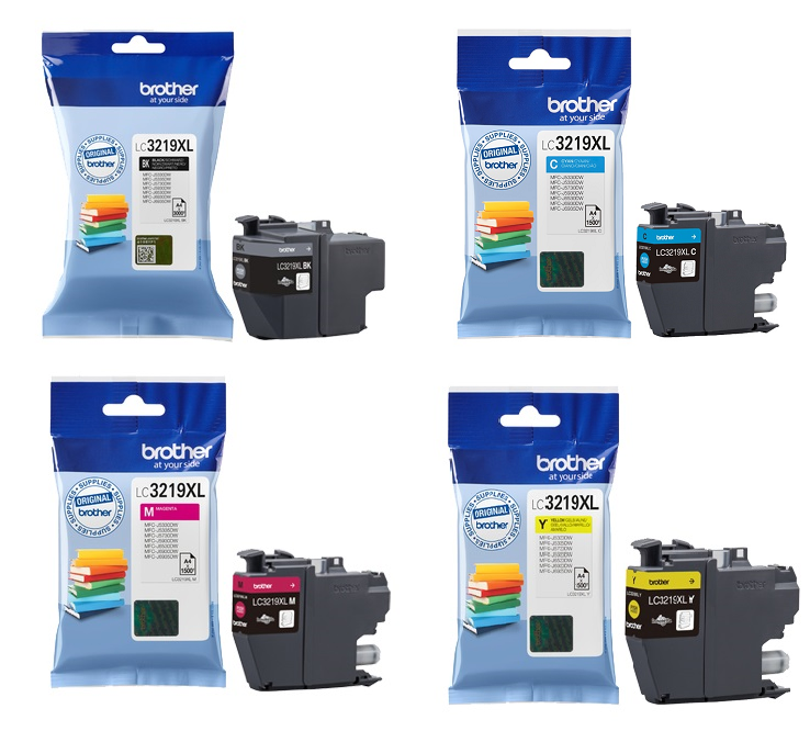 Genuine High Capacity 4 Colour Brother LC3219XL Ink Cartridge Multipack (LC-3219XLBK/C/M/Y)