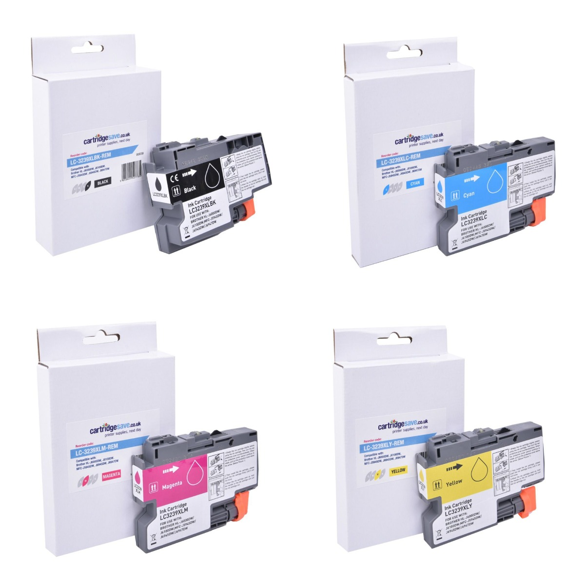 Compatible High Capacity Brother 4 Colour LC3239XL Ink Cartridge Multipack (LC3239XLBK/C/M/Y)