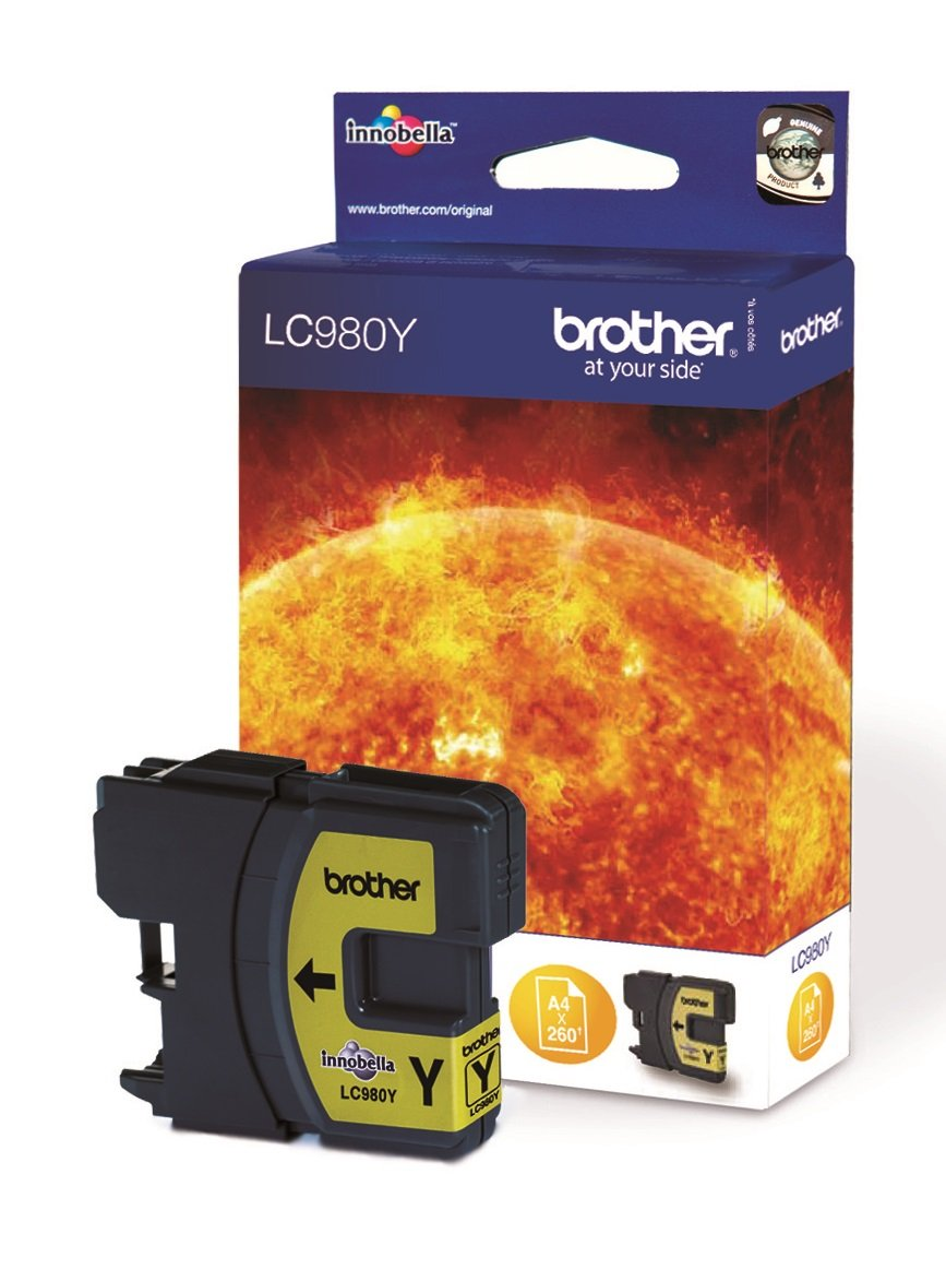 Genuine Brother LC980Y Yellow Ink Cartridge (LC-980Y Inkjet Printer Cartridge)
