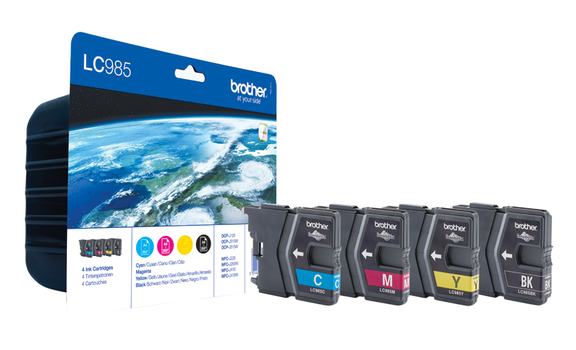 Genuine 4 Colour Brother LC985 Ink Cartridge Multipack (LC-985BK/C/M/Y)