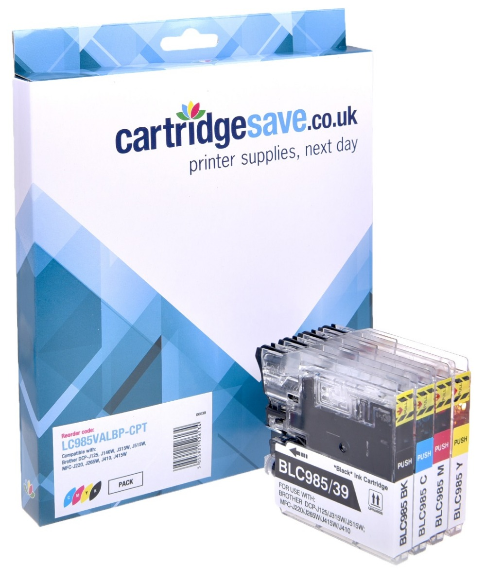 Compatible 4 Colour Brother LC985 Ink Cartridge Multipack - (LC-985BK/C/M/Y)