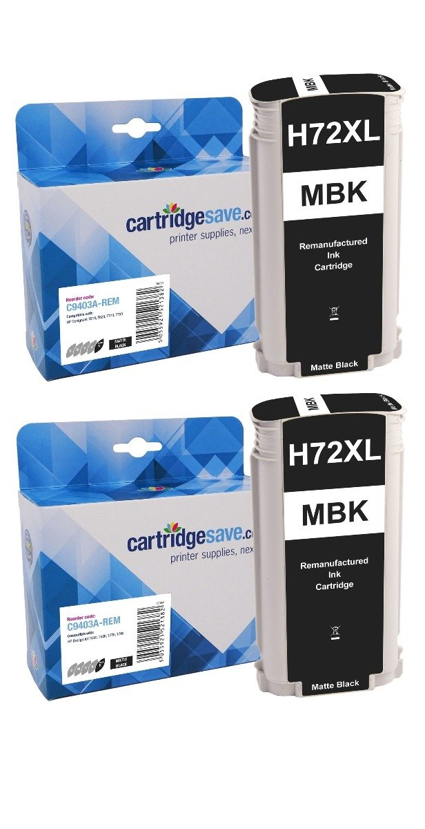Compatible High Capacity Matte Black HP 72 Ink Cartridge Twin Pack - (P2V33A)