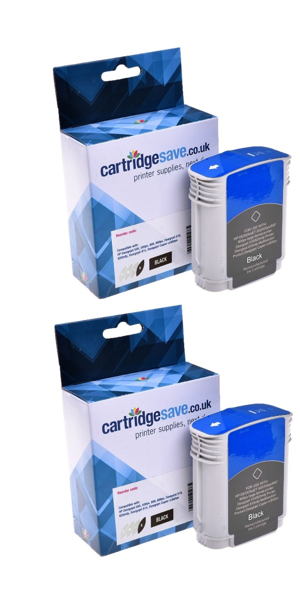 Compatible Black HP 82 Ink Cartridge Twin Pack - (P2V34A)