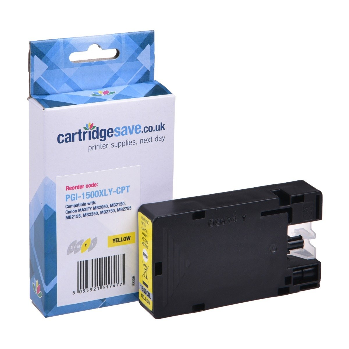 Compatible High Capacity Yellow Canon PGI-1500XLY Ink Cartridge - (9195B001AA)