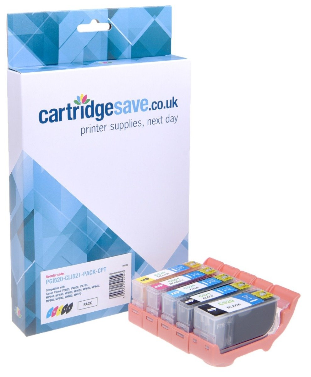 Compatible 2 Black & 3 Colour Canon PGI-520 / CLI-521 Ink Cartridge Multipack - (PGI-520BK/CLI-521BK/C/M/Y)